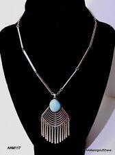 "Lucky Brand Silver-Tone Stone Fringe Pendant Necklace NEW  28"" adj. Retail $49"