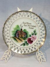 Vintage Plate Decorative Display God Bless Our Mortgage Home White Gold Trim