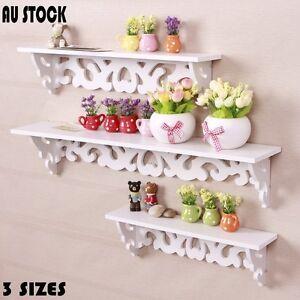 3pcs Wall Floating Shelf Wall-mounted Rack Carved Corner Float Storage Home AU