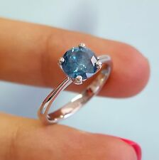 1.20 Carat Fancy Blue Round Diamond Solitair Engagement Ring 14K White Gold+CERT