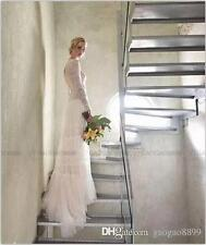 Lihi Hod Vintage Lace Pearls Beach boho Long Sleeve Wedding Dresses Bridal Gown