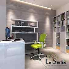 NEW High Gloss White Storage Computer Desk w/Large Bookshelf Workstation L shape