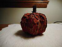Fall Autumn Thanksgiving Orange & Gold Leaf Pumpkin With Twig Stem, NWT