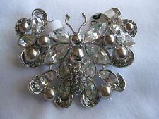 St John Silvertone Silver Faux Pearl Clear Crystal Butterfly Brooch Pin Signed