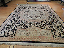 9x12 Pakistani French Aubusson Design Oriental Area Rug  Beige, Black