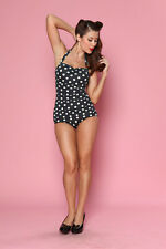 Esther Williams Retro Pin Up One Piece Swimsuit Size 16 Black White Polka Dot