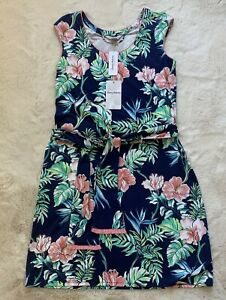 NWT Tommy Bahama Bangalore Blossoms Short Dress Navy Floral  w/ Belt Womens S