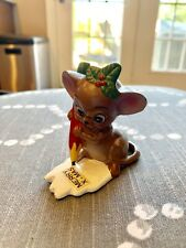 Vintage Josef Originals Ceramic Figurine Brown Mouse with Pencil Merry Xmas