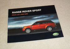 Range Rover Sport Price List 2005 2.7 TDV6 SE HSE V8 Supercharged 1st Edition