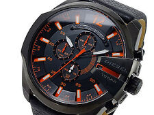 NWT Diesel Men's Watch Black Leather Black Orange SS Case MEGA CHIEF DZ4291 $240