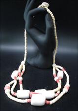 Joya Collar Cadena de Madera Natural Rojo 3-lagig 60cm #57