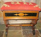 Antique Eastlake Piano Organ Bench storage tapestry top