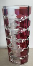 "Vintage Retro Red/Pink Clear Chunky glass Vase 7"" tall"