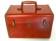 Samsonite Train Makeup Case Shwayder Bros. Red Mirror Brass Hinges Luggage