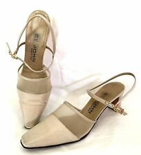 St. John Soft Gold Fabric and Netting Slingback Evening Shoes - Size 7 AA - EUC