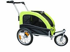 Booyah Medium Pet Bicycle Trailer and Dog Stroller with Suspension Shocks Green