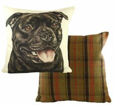 """17"""" Black Staffordshire Dog Cushion Evans Lichfield DPB034 43cm Waggydogz Staff"""