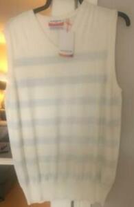 Glenmuir 1891 Golf Mens 100% Cotton Slipover Vest Sweater V Neck Large cream bnw