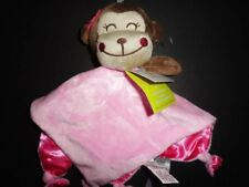 NWT Cuddle Time Monkey Girl's Pink Satin Knot Security Blanket/Lovey