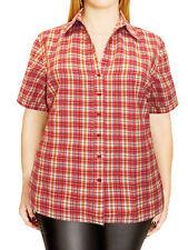 Ladies Red Check Shirt Plus Size 26/28 30/32 38/40 Cotton Blouse 259