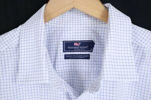 Vineyard Vines Classic Fit Cooper Shirt White Blue Check Long Sleeve sz 2XL XXL