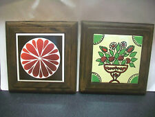 SET2 HEAVY WOODEN PLAQUES W PAINTED INLAID TILE CENTERS WALL HANGINGS HOME DECOR