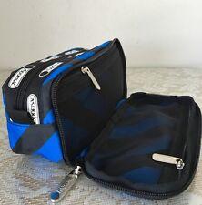 NWT Lesportsac Kevyn Cosmetic Bag Purse Black Blue Ace Stripe $28