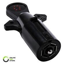 7-Way Blade Trailer Light Wiring Circuit Tester Round Adapter Pin Plug RV