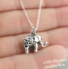 3D Elephant Necklace - 925 Sterling Silver - Filigree Pendant Zoo Safari Charm