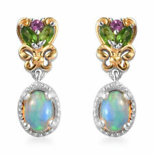 925 Sterling Silver Yellow Gold Plated Opal Diopside Dangle Drop Earrings Ct 1.8