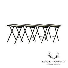 Artex Set Of 4 Mid-Century Black Folding Tray Tables, Piranesi Style