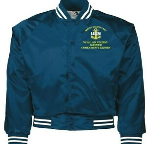 NAVAL AIR STATION GLENVIEW COOK COUNTY-IL NAVY EMBROIDERED 2-SIDED SATIN JACKET