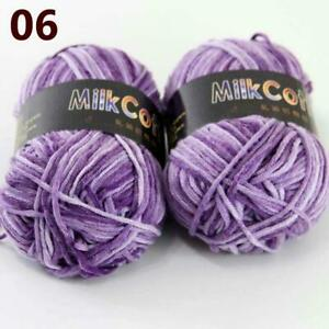 AIP Soft Baby Cotton Yarn New Hand dyed Wool Socks Scarf Knitting 2Skeinsx50g 06