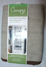 """Canopy 24-Pock Over-Door Cotton PET Brown Ivory Shoe Organizer 22""""Wx1""""Dx63.5"""""""
