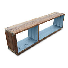 Rustic Wooden Stackable Modular Bookcase Display Shelf Bench TV Unit Stand Blue