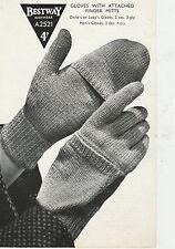 Vintage retro 40s photo copy knitting Pattern Bestway A2521 ladies gloves