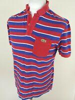 Mens Lacoste Polo Shirt Red Blue Stripe Medium 42 Chest