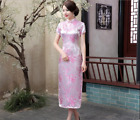 New Traditional Chinese Women's Silk Satin Long Dress Cheongsam Qipao
