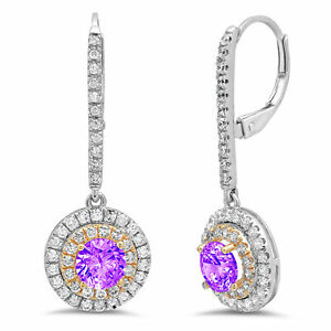 2.52 Round Cut Halo Natural Amethyst Drop Dangle Earrings Real 14k 2 tone Gold