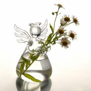 Angel Shape Clear Glass Flower Plant Stand Hanging Vase Hydroponic Home Wedding
