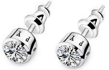 Men Women Sterling Silver Post Stud Cubic Zirconia CZ Earrings 7mm Gift Box K60