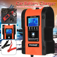 FOXSUR Smart LCD Automatic Car Battery Charger Pulse Repair Motorcycle 12V 24V