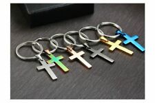 Stainless Steel Cross Car Key Chains Jesus Crucifix Religion God Vintage Gift
