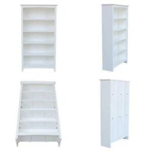 60 In. White Wood 5-Shelf Standard Bookcase With Adjustable Shelves