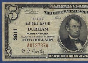 NC 1929 $5  ♚♚DURHAM, NORTH CAROLINA♚♚   PCGS VERY FINE 20