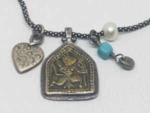 Silpada Oxidized Sterling Silver Multi Charm Popcorn Chain Necklace N1679
