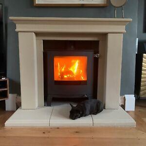 "NEW STONE FIREPLACE SURROUND ENGLISH Georgian 54"" Wood Burning Multi Fuel stove"