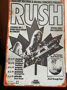 Rush Vintage Tin Sign Geddy Lee Neil Peart Canada