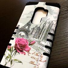 Samsung Galaxy S9+ PLUS - Hard Hybrid Armor Case Cover Paris Eiffel Tower Flower