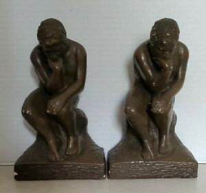 """Lot Of 2 Vintage Plaster Bronze Color 9 1/4"""" H The Thinker Bookends - Heavy!"""
